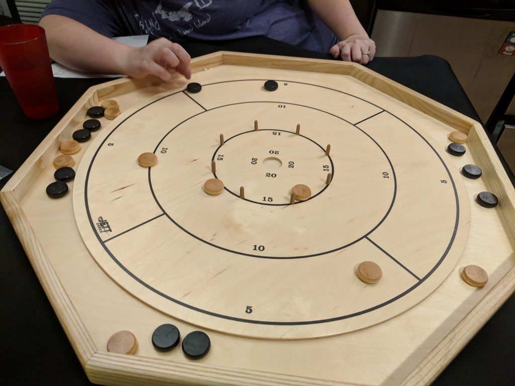 Crokinole in action